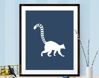 Lemur Art Print, Lemur Graphic Art, Printable Art, Lemur Print, Navy Blue Graphic Art, Nursery Print, Nursery Printable, Animal Printable
