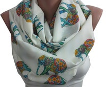 Elephant Scarf Animal Scarf  Infinity Scarf Gift for Her Boho Circle Scarf Spring Fall Autumn Winter Accessories Christmas Gift For Women