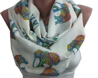 Elephant Print Scarf Infinity Scarf Bohemian Elephant Scarf Animal Print Loop Boho Scarf Women Fashion Accesories Christmas Gifts For Her