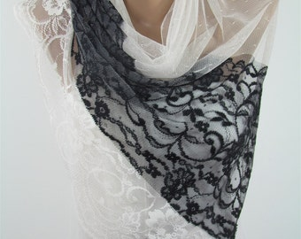 Lace Scarf White Scarf Shawl Tulle Scarf White Wedding Scarf Wrap Bridesmaids Gift Bridal Accessories Gift For Bride Christmas Gifts For Her