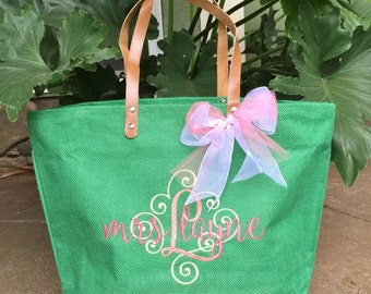 NEW!!  Kelly Green Jute ZipperTote, Reuseable Grocery Bag, Beach Bag, Carry-All, Monogrammed Tote and More!