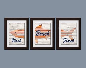 Wash Brush Flush Wall Art, Shark Bathroom Decor, Shabby Chic Bathroom Decor, Shabby Chick Bathroom Wall Art, Bathroom Rules, Rustic Decor
