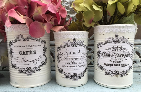 3 French Country Painted Lace Lacy Tin Cans Centerpieces Vases White