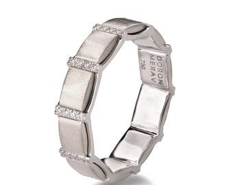 Gold and Diamonds Wedding Band, White Gold Wedding Ring, White Gold Wedding Band, Eternity Ring, Unique Band, Unique wedding ring, R015
