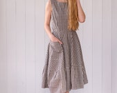 Gingham Dress in Organic Cotton, Navy with short puff sleeves