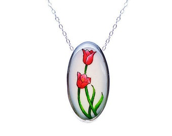 Red Tulip Small Oval Necklace set in Sterling Silver
