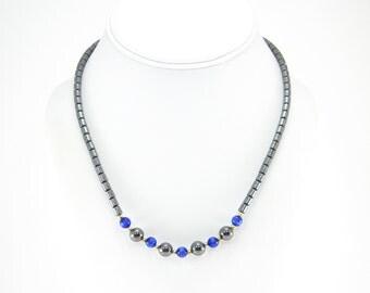 Vintage Hematite Bead Necklace, Blue Glass Beads