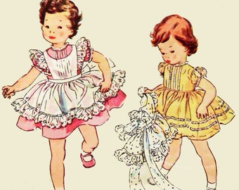 1950s Toddlers Dress & Pinafore Sewing Pattern / Simplicity 4580 Sewing Patterns for Girls Size 1 / 50s Childs Dress Vintage Sewing Patterns