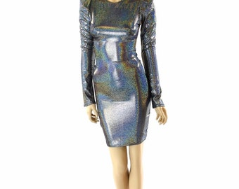 Silver Holographic Sharp Shoulder Long Sleeve Dress Futuristic Mod Party Dress  151997