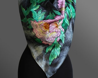 Hand painted silk scarf. Peonies silk scarf. Grey and mint green scarf. Silk shawl scarf.  Square silk scarf. Made to order.
