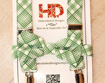 Erkle Jr. | Boy's Suspender and Bow Tie Set - Green and Off-White Plaid