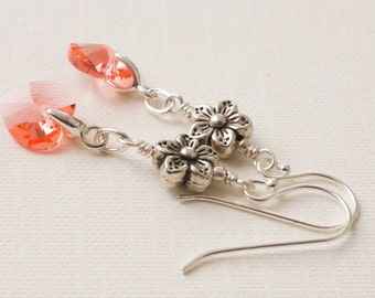 Peach earrings, earrings with Swarovski hearts, flower earrings, rose peach earrings, heart and flower earrings, crystal heart earrings