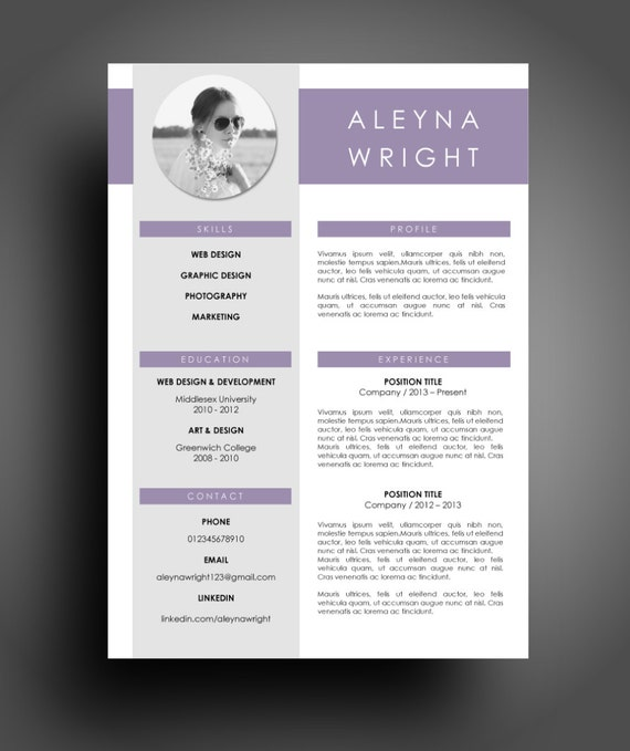 cv resume modern purple template instant word document