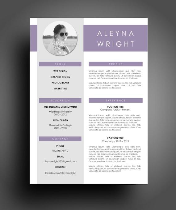 cv resume modern purple template instant word document