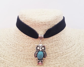 Turquoise owl 16mm choker necklace, owl velvet choker, owl collar, owl necklace, owl jewelry choker collar