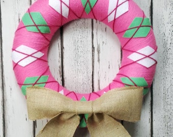 Christmas Yarn Felt Wreath Door Decoration- Pink Argyle