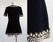 1960s beaded sweater dress - 60s vintage pearl dress - knit black micro mini dress - beading bead gold - fall winter holiday party - small s