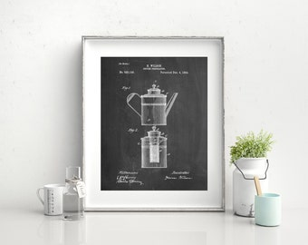 Coffee 2 Part Percolator 1894 Patent Poster, Vintage Coffee, Coffee Shop Decor, Diner Decor, Coffee Wall Art, PP0027