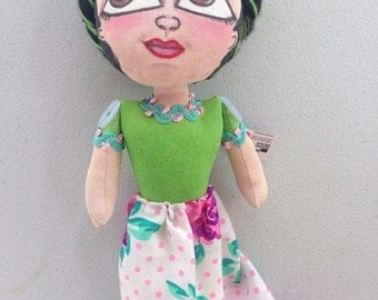 Frida Kahlo, Art Doll, doll, Mexican, art on fabric, unique pieces.