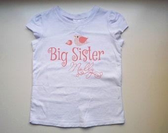Personalised Big Sister Shirt with birdies