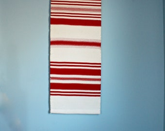 "Wall Textile - Vintage Woven Wool - ""Raanu"" - Finnish Tapestry - Textile Art  - Mid Century - Folk Art"