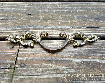 French Provincial Drawer Pulls French Vintage Decor Decorative Drawer Pulls French Country Cabinet Pulls Dark Brass & Ivory Drawer Pulls