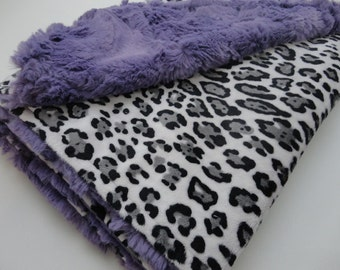 Clearance!  Baby Jaguar Print Minky Baby Blanket - Backed with Purple - Ready to Ship