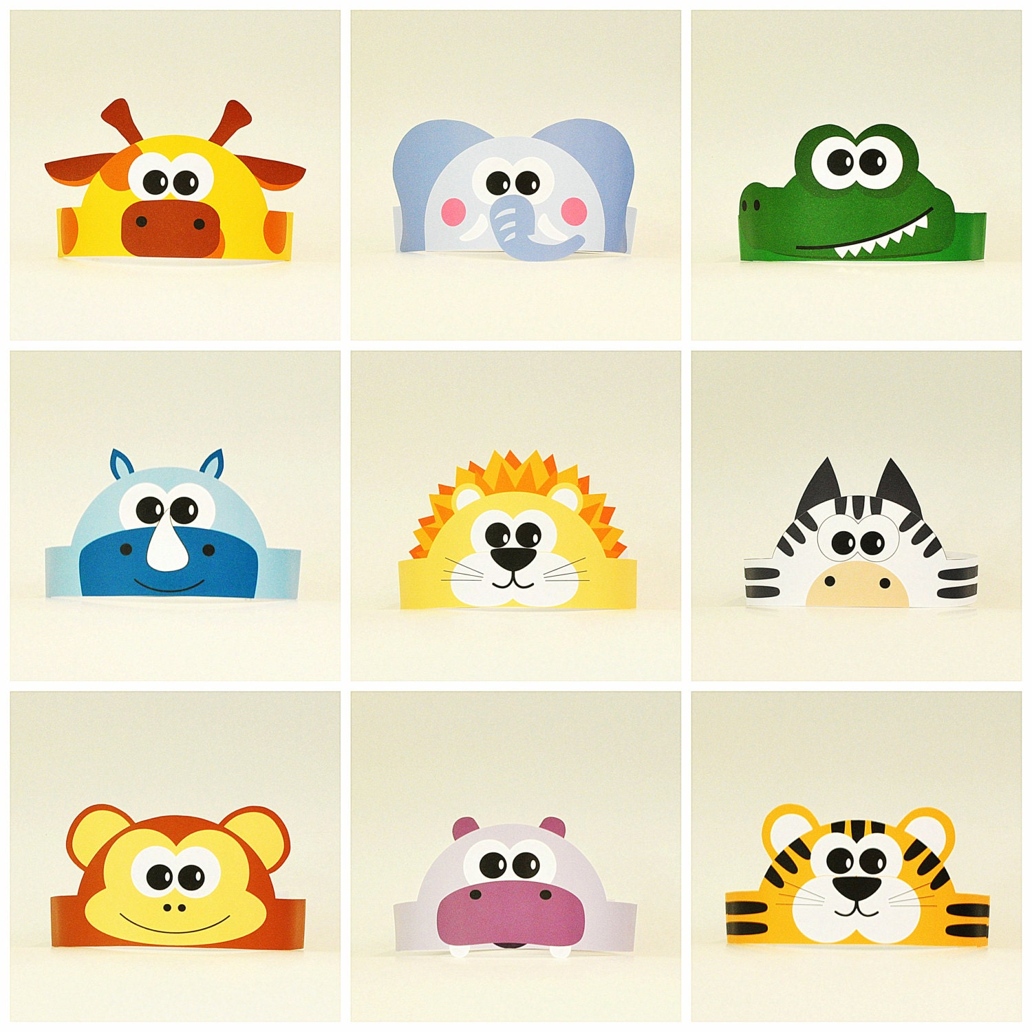 baby photo collage ideas download - 10 Jungle and Savanna Animals Paper Crowns Set 10 DIY Crowns