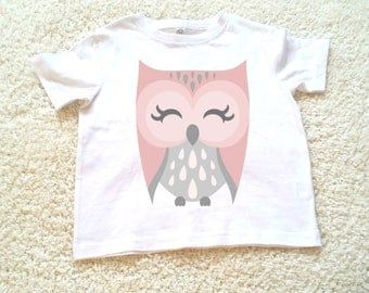 Pink Owl Children's Toddler Tshirt. Sizes 2T, 3t, 4t, 5/6T graphic kids shirt gift