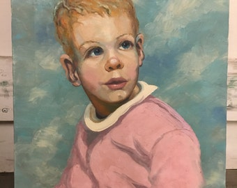 Vintage Oil Portrait of a Boy with A Pink Shirt