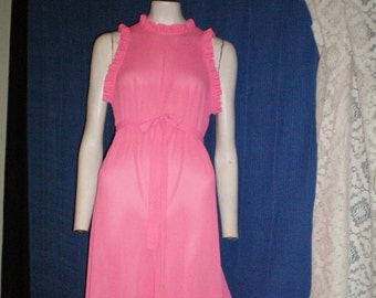 1970 Neon Pink Pantsuit Lounge wear with Open Back -Vintage Lingerie -Vintage Lounge Wear -Vintage Pantsuit -Valentine's Gift -Easter Purse