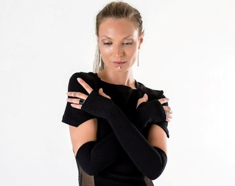 Black arm warmers long over the elbow fingerless gloves goth cyberpunk- FG40 Q5