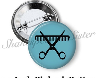 """Barber Pin - Pinback Button - 1.5"""" Pinback - Barber Pinback Button - Hair Cut - Blue Scissors and Comb Pin"""