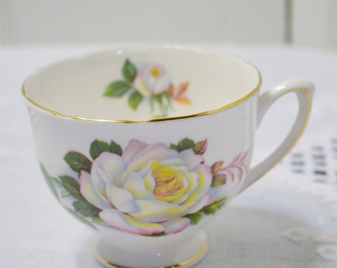 Vintage Royal Vale Teacup White Rose Design English Bone China Replacement Bridal Baby Shower Panchosporch