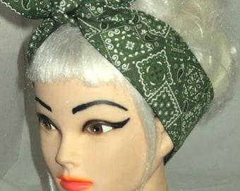 Pinup Rockabilly Narrow Headband Head Scarf Hair Wrap  Hunter Green Forest Bandana print paisley