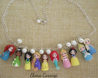 Disney princess Necklace, polymer clay elsa cinderella belle jasmine rapunzel)