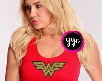 Custom Glitter Wonder Woman Sports Bra