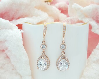Rose Gold CZ Teardrop Earrings, Cubic Zirconia Earwires, Blush Bridal Earrings, Wedding Jewelry, Pink Gold Bridesmaid Gift, Valentine, E2804