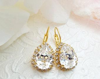 Crystal Teardrop Earrings, Gold Bridal Earrings, Crystal Earrings, Diamond Anniversary Gift, Swarovski, Gold Earrings, E3358
