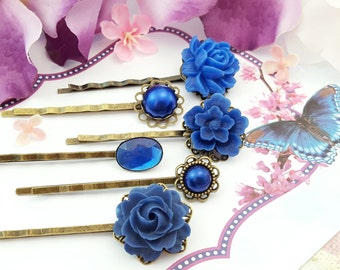 Navy Bridesmaid Hair Pins, Sapphire Hairpins, Dark Blue Bobby Pins, Set of 6, Navy Wedding Hair Flower, September Birthstone, Montana, H4018
