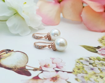 Rose Gold Pearl Drop Earrings ~ Rose Gold Wedding Earrings ~ Simple Pearl Earrings Bridal ~ Cubic Zirconia Round Pearl Earrings E4404