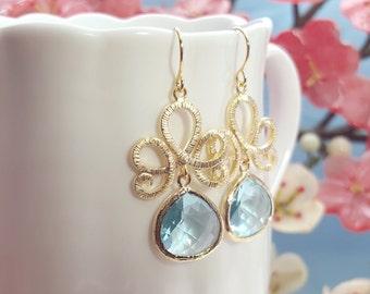 Aquamarine Earrings, Cinderella, Matte Gold,Aquamarine Crystal Earring,Aquamarine Teardrops, Light Blue Bridesmaid, Aqua Blue Earring, E2476