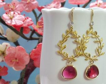 Ruby Crystal Earrings, Ruby Earrings, Ruby Pink Teardrops, Leaf Earrings Gold, Long Gold Earrings, Ruby Bridesmaids, July Birthstone, E2477