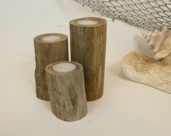 Driftwood Tea Light Candle Holders, Nautical Centerpiece- Tiered Set of 3, Driftwood Candle Holders .