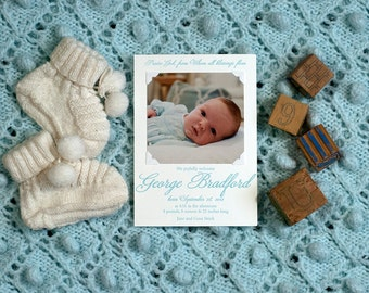 Letterpress Photo Birth Announcement | Letterpress Photo Adoption Announcement | Custom Photo Announcement | LARGE Announcement