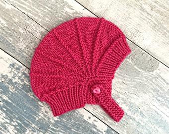 Newborn Hat Girl, Baby Aviator Hat, Hand Knitted Baby Pilot Hat, Newborn Take Home Outfit Girl, New Born Baby Girl Gift, Baby Shower Girl