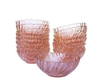 French Arcoroc Pink Rosaline Bowls, Set of 6 *FREE SHIPPING*