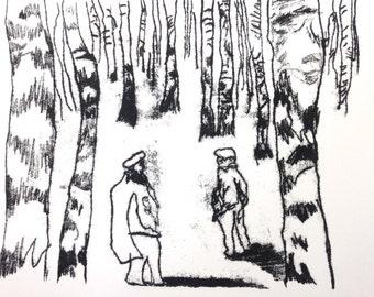 Mono Print - The Woods - 1/10 Handprinted