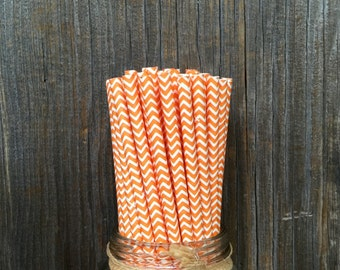 75 Orange Chevron Straws, Birthday Party, Halloween or Fall Party, Craft Supply