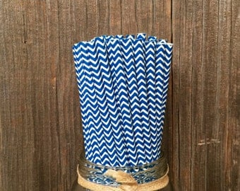 75 Navy Blue Chevron Straws, Patriotic Party, Birthday Party Supply